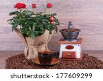cup of coffee with coffee... | Shutterstock . vector #177609299