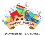 happy purim banner   colorful... | Shutterstock .eps vector #177609563