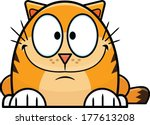 Cute orange cartoon cat with brown stripes.  - stock vector