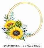 Sunflower Flower. Wedding Frame....