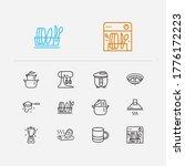 kitchen icons set. mug and...