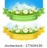 summer composition with green... | Shutterstock .eps vector #177634130