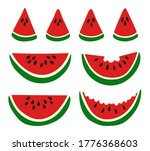 ripe red watermelons. whole and ... | Shutterstock .eps vector #1776368603
