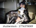 Small photo of Ciel Phantomhive Cosplay model influencer photoshoot