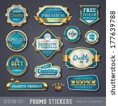 blue and golden promo stickers...