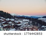 Small photo of calm scene mountains in La Tania France Europe mountain tops at sunset beautiful view over mountains