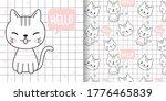 draw happy cat. print seamless ... | Shutterstock .eps vector #1776465839