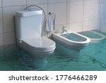 Broken Toilet And Bidet...