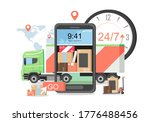 delivery truck and mobile phone ...   Shutterstock .eps vector #1776488456