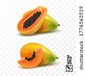 whole and slices pieces papaya... | Shutterstock .eps vector #1776563519