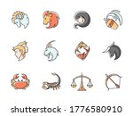zodiac signs rgb color icons...