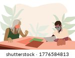 man and woman hold a meeting in ...   Shutterstock .eps vector #1776584813