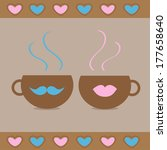 two teacups with mustache and...   Shutterstock . vector #177658640