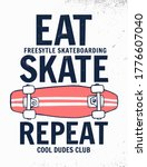 eat  skate  repeat slogan with... | Shutterstock .eps vector #1776607040