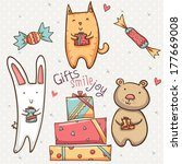 Set Of Animals And Gifts