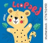 cute leopard cartoon in forest... | Shutterstock .eps vector #1776752450