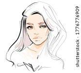 hand drawn beautiful woman face ... | Shutterstock .eps vector #1776776909