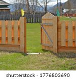 Wooden Gate. Fence Of The New...