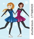 female figure skaters  blonde... | Shutterstock .eps vector #177680420