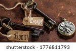 Small photo of two old keys on a rusty metal table with labels : escape room