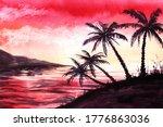 Watercolor Exotic Landscape Of...