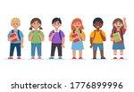group of school children. happy ... | Shutterstock .eps vector #1776899996