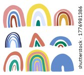 set of abstract doodle rainbows.... | Shutterstock .eps vector #1776981386
