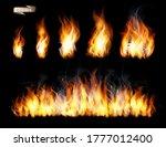 set of transparent fire flame... | Shutterstock .eps vector #1777012400