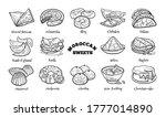 doodle set of moroccan sweets....   Shutterstock .eps vector #1777014890