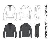 blank men's hoodie in front ... | Shutterstock .eps vector #177706433