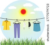 clothes and face mask hanging... | Shutterstock .eps vector #1777079723