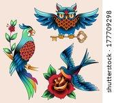 set of traditional birds tattoo ... | Shutterstock .eps vector #177709298