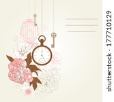 beautiful card with birdcages ... | Shutterstock . vector #177710129