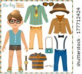 paper doll with a set of... | Shutterstock .eps vector #177712424