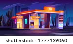 oil station at night. noctidial ... | Shutterstock .eps vector #1777139060