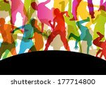 active young men and women... | Shutterstock .eps vector #177714800