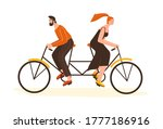 woman and man go to the... | Shutterstock .eps vector #1777186916