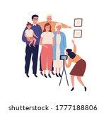 happy big family making photo... | Shutterstock .eps vector #1777188806