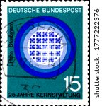 Small photo of 02 11 2020 Divnoe Stavropol Territory Russia postage stamp Germany 1964 Anniversaries in Technic and Science 25 years of nuclear fission, Hahn and Strassmann image of the nuclear reactor