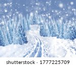 Winter Background Of Snow And...