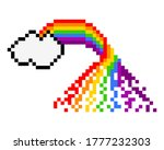 pixel rainbow and clouds image. ...