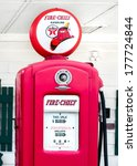 Small photo of DWIGHT, IL/USA - MAY 4: Vintage Fire Chief gas pump at Ambler's Texaco Gas Station, on Route 66, on May 4, 2013, in Dwight, Illinois. National Register of Historic Places