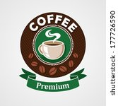 label with coffee cup  vector... | Shutterstock .eps vector #177726590
