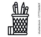 pencil desk glass icon. outline ...