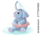 Cute Cartoon Elephant Bathes...