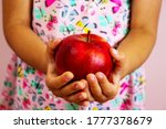 Child Girl Holding Red  Juicy...