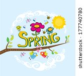 spring word  flowers and... | Shutterstock .eps vector #177740780