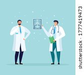 doctors looking at xray picture.... | Shutterstock .eps vector #1777419473