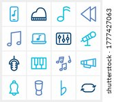 sound icon set and music note...