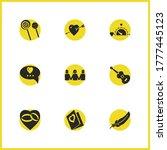 valentine icons set with...